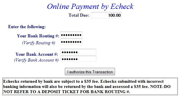 E-check example screen 1